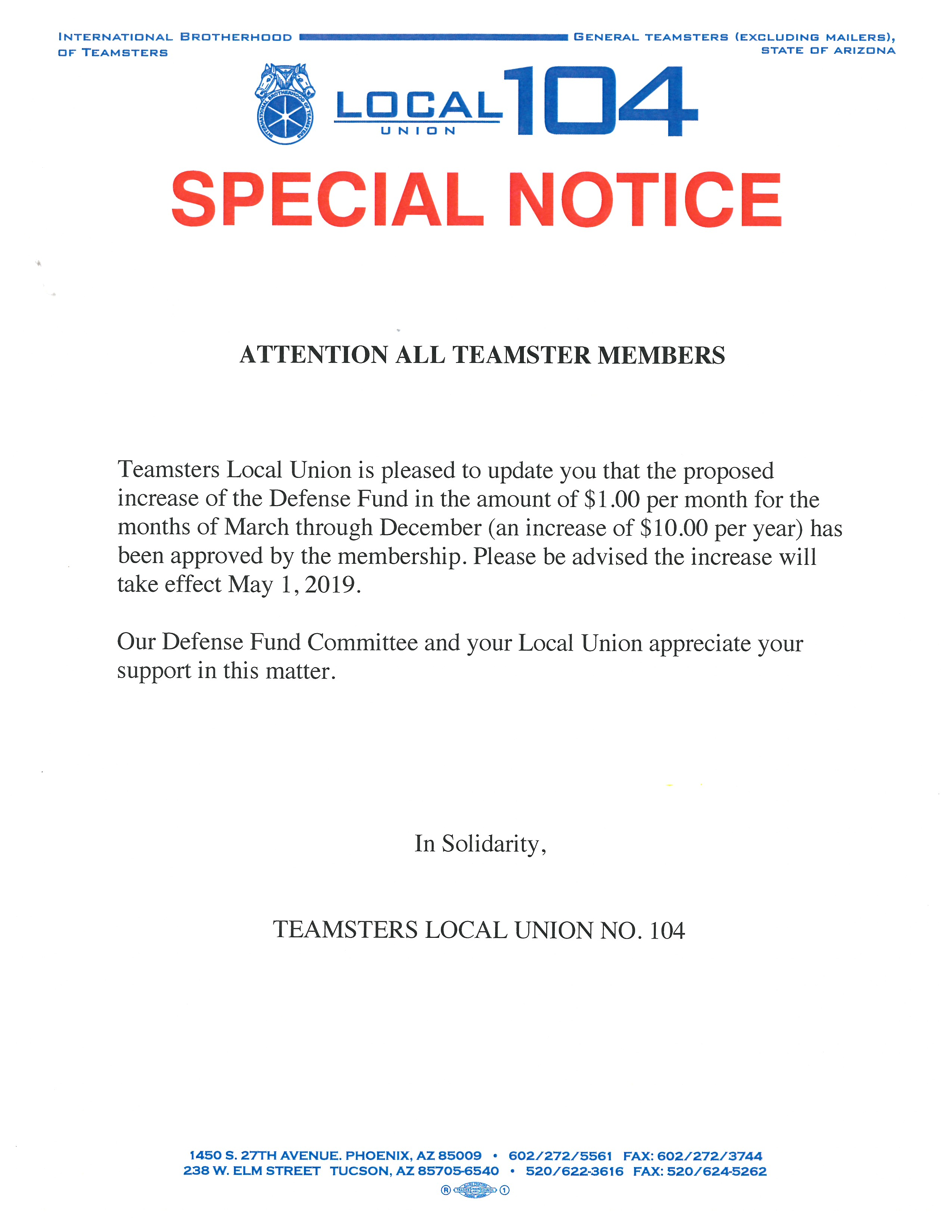 Teamsters Local Union No  104